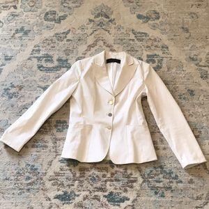 Elie Tahari white cotton / elastane fitted blazer